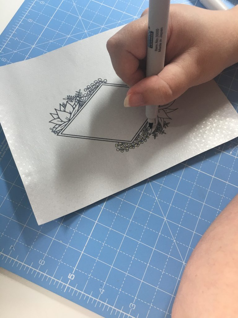 Colouring onto Rinea Foiled Paper