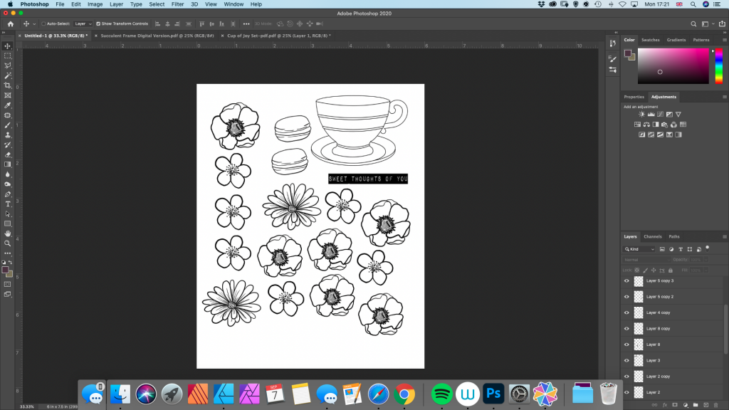 "The ""Cup of Joy"" stamps by Joy Clair Designs laid out ready for printing."